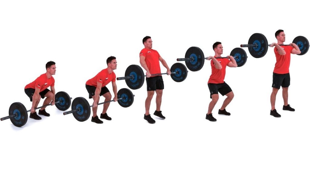 man demonstrating transitions to a power clean